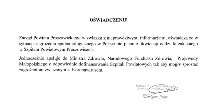 Informacja Powiatu Proszowickiego